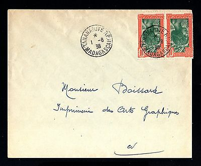 15047-MADAGASCAR-OLD COVER TANANARIVE to FRANCE.1938 WWII.FRENCH colonies