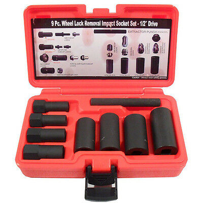 9pc Wheel Lock Locking Lug Nut and Hub Cap Remover Installer Impact Socket Set