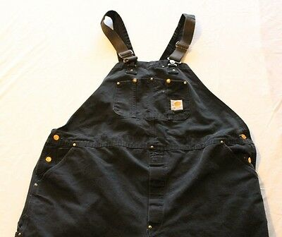 "Carhartt Black Duck Bib Overalls Measured Size 50""x31"""