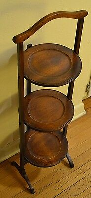 Vintage 3-Tier Turned Wood Folding Table Pie Pastry Plant Stand Antique ShipFAST