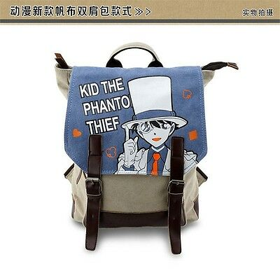 Anime Detective conan Kaito Kuroba Pinting Canvas Backpack Students School Bag