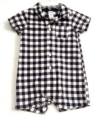 Baby Boy Carter's 18 Month One PIece Outfit Black & White Plaid Romper Summer