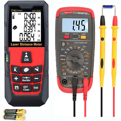 Digital Multimeter Volt AC DC Tester 100M Laser Distance Meter Ranger Finder