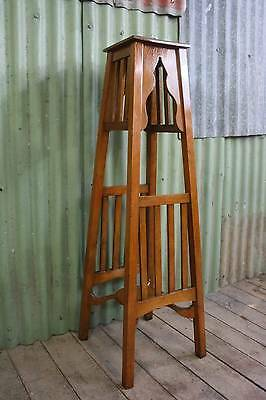 A Tall Arts and Crafts Oak Planter Stand Pedestal Two Tier