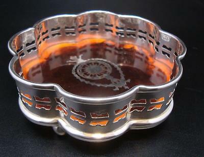 Silver Plated & Faux Tortoise Shell Regency Style Drinks / Bottle Coaster