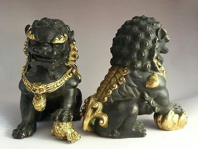 Collectables! Door fengshui Old Copper Guardion Lion Foo Fu Dogs Statues 16cm