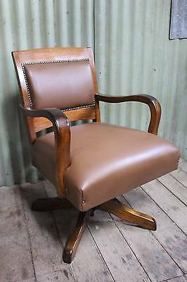 A Newly Upholstered Art Deco Blackwood & Leather Office Chair