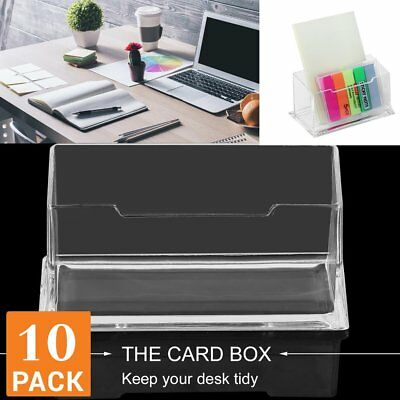 10 X Clear Desktop Business Card Holder Display Stand Plastic Desk Shelf  LOT QW
