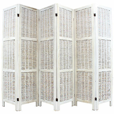 Sale Cream Wicker 6 Panel Room Divider Privacy Partition - Damaged Packet #780
