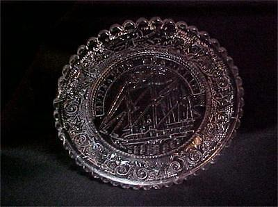 Vintage Crystal Glass Ben Franklin Ship Mini Plate Coasters