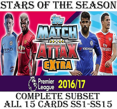 STARS OF THE SEASON Full 15 card SUBSET Match Attax EXTRA 2016/17  2017