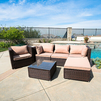 Rattan Furniture Set 6 PCS Sofa Garden Outdoor Patio PE Wicker Cushioned Lawn