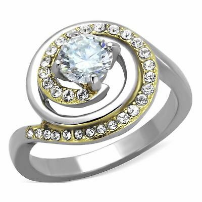 6x6mm Round Cut CZ Center Set in Two-Tone Gold IP Stainless Steel Women's Ring