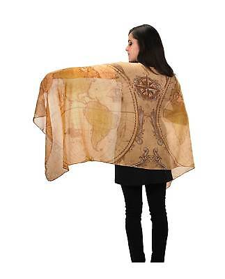 Ye Olde World Map Scarf Shawl Large Steampunk Vintage Cartography Festival