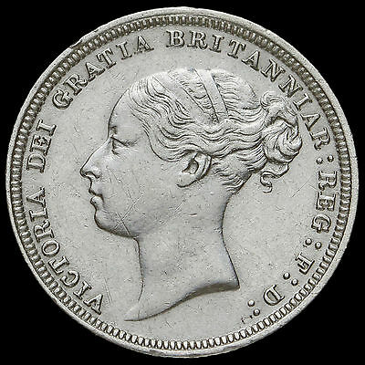 1880 Queen Victoria Young Head Silver Sixpence, Rare, Near EF