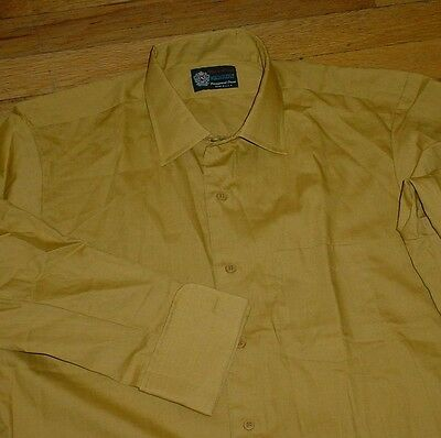 Vtg Fruit of the Loom XANADU French Cuff Dress Shirt MUSTARD Contour-Fit 16/33
