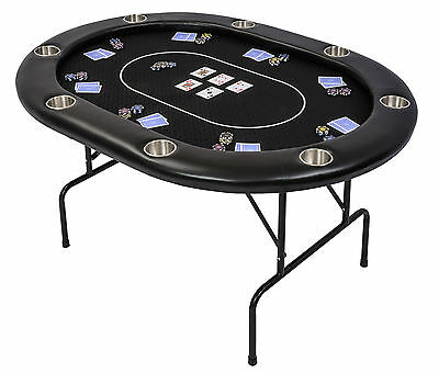Riverboat TLS Poker Table with Black Speed Cloth Folding Legs and Armrest 152cm