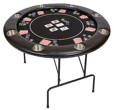 122cm Poker Table with Folding Metal Legs Suited Speed Cloth & Large Cupholders