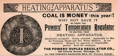 Ad Lot Of 3 1890's Ads Powers Regulator Co Temperature Control