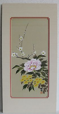 Fine Old Chinese Peonies & Yellow Flowers Silk Painting Artist SIGNED