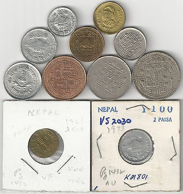 11 DIFFERENT COINS from NEPAL (11 TYPES/8 DENOMINATIONS)