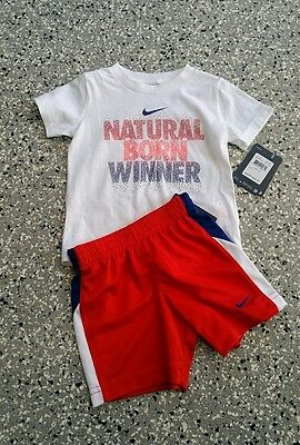 New Nike Kids Boys Graphic T-Shirt & Short Pants White Red Outfit Set 12 Months