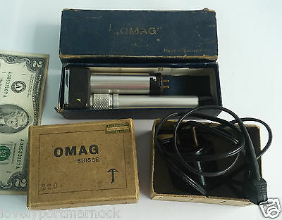 Vintage rare OMAG pocket field microscope & Power Supply Made in Switzerland