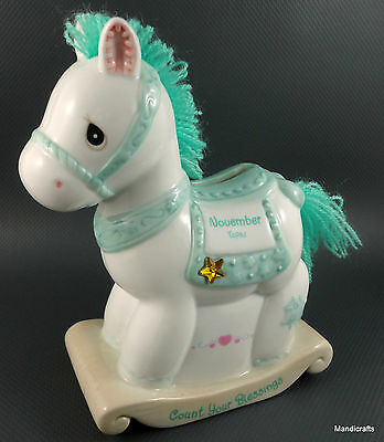 Precious Moments November Pony Still Bank Figurine 5.5in Enesco Topaz Ceramic