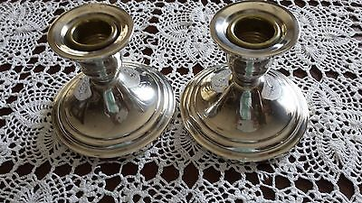 Pair Newport STERLING Silver Weighted Candle Holders Candlesticks - Gorham