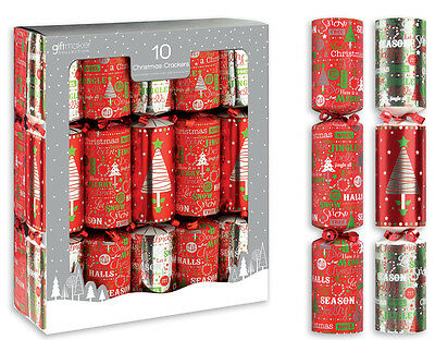 """10 x 12"""" Red Modern Foil Traditional Christmas Crackers With Gifts Festive Party"""