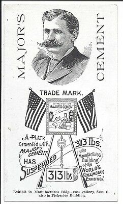 Columbian Expo Trade Card, Major's Cement (Glue), Patriotic, 1893