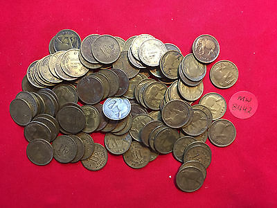 mw8442 Belgian Congo; 50 circulated Coins -1 Frank 1944-1946-1949  Elephant