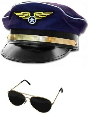 Adult Airline Aviator Sunglasses And Navy Blue Pilot Hat Cap Costume Adjustable