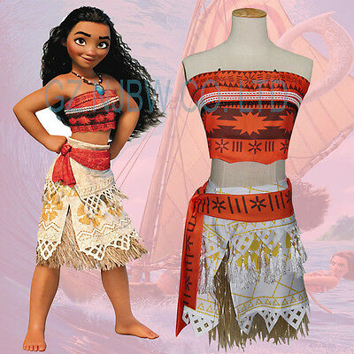 Girl Women Movie Polynesia princess Moana Cosplay Costume Dress halloween 4pcs