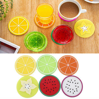 6×Fruit Coasters Silicone Cup Colorful Drinks Holder Mat Tableware Placemat UK