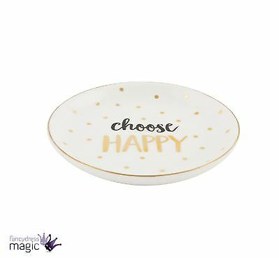 Sass Belle Gold Monochrome Ceramic Choose Happy Trinket Jewellery Dish Gift
