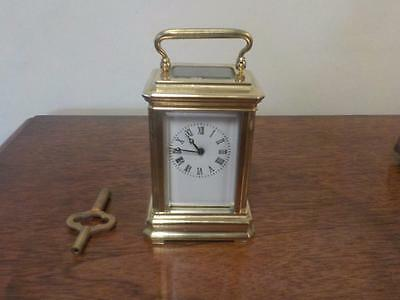 "Antique / Vintage Small Brass Carriage Clock With Key Working Order 3"" Tall"