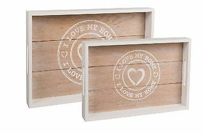 Wooden Love My Home Design Rustic Rectangular Serving Tray