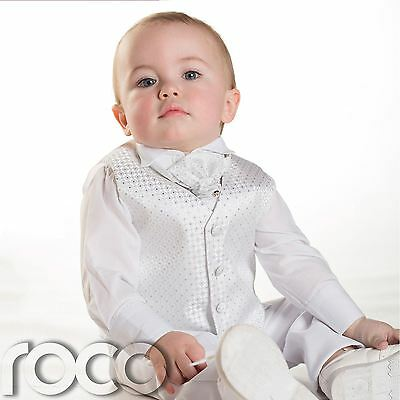 Baby Boys White Waistcoat Suit, Page boy Suits, Boys Wedding Suits, 3m - 6yrs