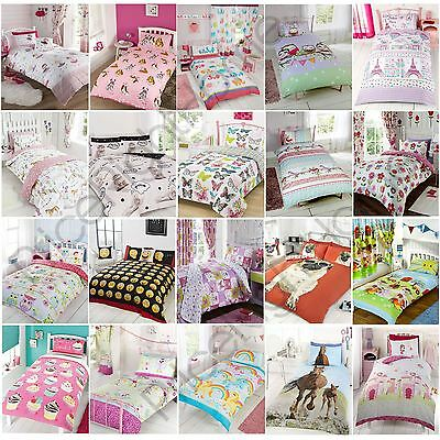 Girls Single Duvet Cover Sets Bedding Unicorn Flower Horse Heart Elephants Cats