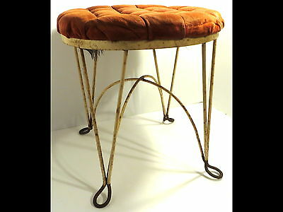 Vintage Cast Wrought Distressed Iron Vanity Seat/Stool/Chair Tufted Shabby Round