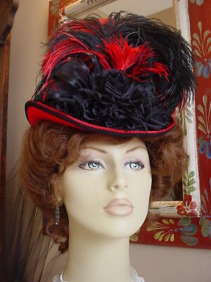 Ladies Hat Steampunk Victorian Red Black Bowler Riding Millinery Steampunk Sass