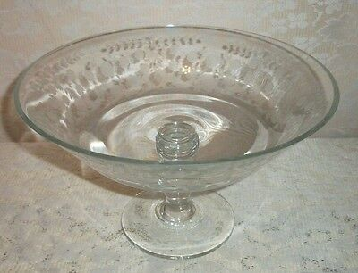 Vintage Towle Rambler Rose Etched Glass Footed Compote