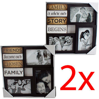 Set Of 2 Photo Picture Frame Collage Family Friends Multi Home Gift Hanging New