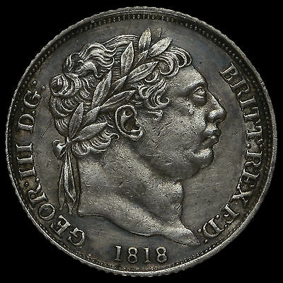 1818 George III Milled Silver Sixpence, Scarce, A/EF
