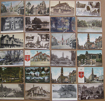 COLCHESTER Job Lot of 24x Old  Postcards 1900-50s, Mostly pre-1920