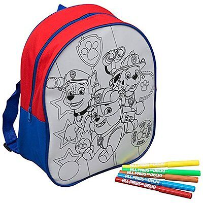 NEW Paw Patrol PWP-4253 Colour Your Own Backpack