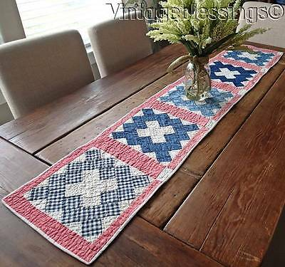 Antique 1880 Indigo Blue Double Pink Album Farmhouse Table Quilt Runner