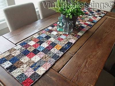 Fabulous Fabrics! Antique c1880s Farmhouse Table QUILT RUNNER 65""