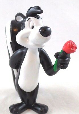 PVC Pepe Le Pew UP ROSE STAND Toy Figure Warner Brothers Looney Tunes WB Topper